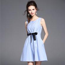 2017 New Summer Light Blue Sleeveless Vest Bow Dresses Women Casual Cothes Fashion Simple European Office Party Dress Girls Hot