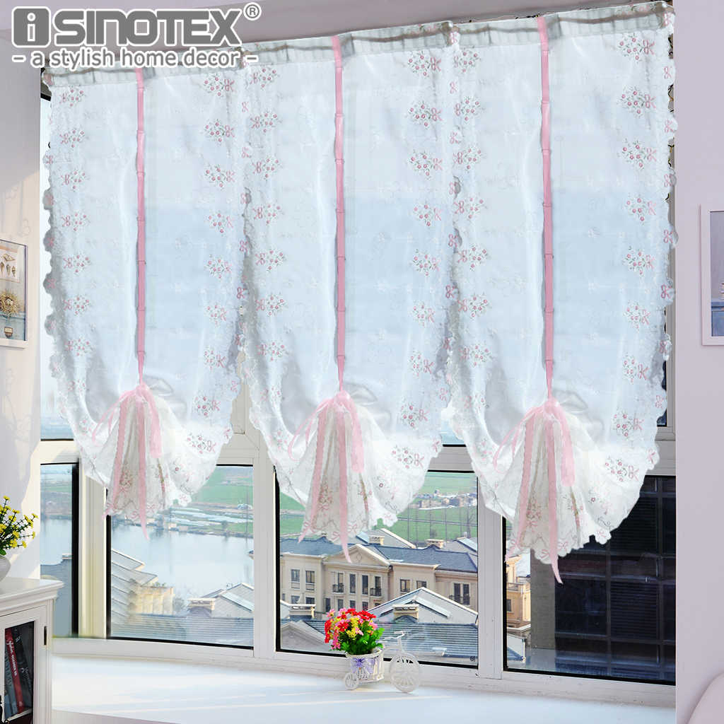 Window Roman Curtain Pastoral Tulle Embroidered Sheer For Kitchen Living Room Bedroom Window Curtain Screening Pink Bowknot