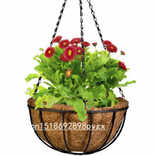 Wrought Coconut Half Round flowerpot Hanging Pots Window Rattan Decorative Pots Wall Iron Garden Plant Planter Flower Basket(China)