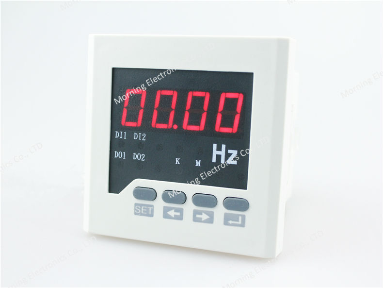 F61-2O 72*72mm Hot sale LED display single phase digital frequency meter, with 2 realy outputs(China (Mainland))
