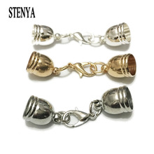Stenya Hole Size 5-12mm Necklace Tassel Round Leather Cord Crimps End Caps Lobster Clasp Jump Rings Fastener Jewelry Making(China)