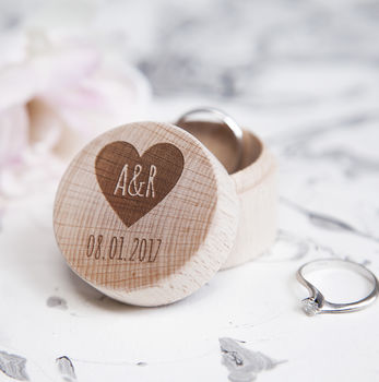 Personalised Heart Initial Wedding Ring Box Custom Wedding Ring Box Engagement Party Wooden Ring Bearer Storage Box