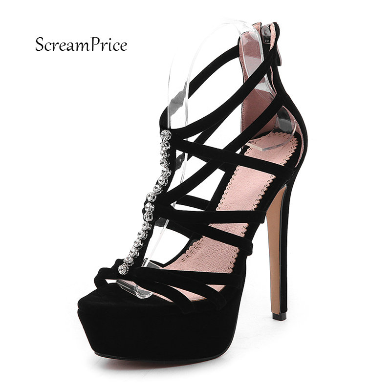 Fashion Rhinestones Faux Suede Womens Gladiator Sandals High Heels Platform Sexy Woman Summer Rome Party Shoes with Back Zipper<br>