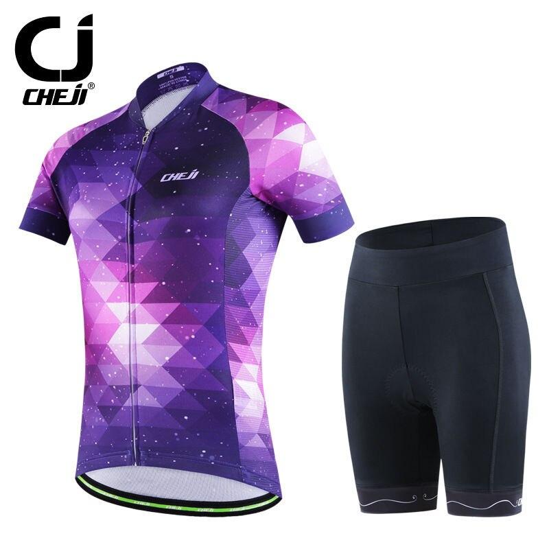 CHEJI Purple Fantasy Cycle Jersey Set Womens Bicycle Shirt /Jersey / Biking Jacket And Bike Padded Shorts Reflective<br>