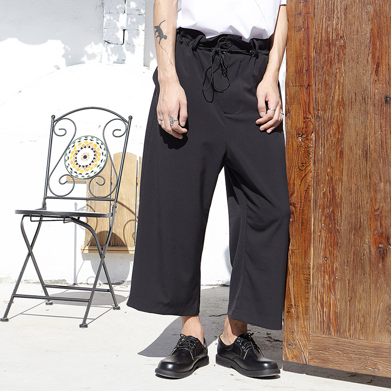 Male Fashion Loose Harem Trousers Japan Streetwear Pants Men Drawstring Waist Wide Leg Casual Straight Pant
