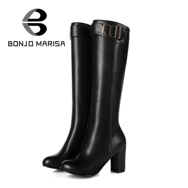 BONJOMARISA Big Size 32-45 Sexy Knee High Boots Woman High Thick Heels Warm Women Shoes Fashion Platform Round Toe Long Boots<br><br>Aliexpress