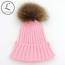 GZHILOVINGL Big Pompoms Custom Knitted Pom Beanie Hat For Women Men Winter Natural Raccoon Fur Winter Warm Hats China Factory(China)