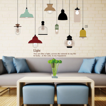 Korean colorful hand-painted Ceiling lights lamp wall stickers for cafe wall created fashion poster for Living room background