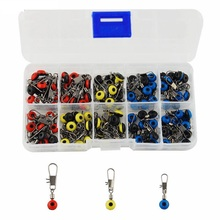 HiUmi 100pcs Plastic Head Fishing Swivel With Interlock Snap Space Bean Saltwater Fishing Swivels Connector Set With Bo(China)