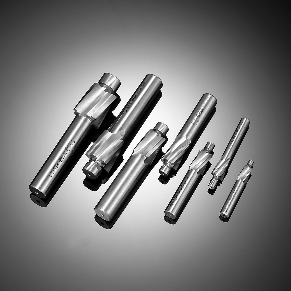 KKmoon 7pcs/set Counterbore Set M3-M12 High Quality High-speed Steel 4 Flutes Straight Shank Counterbore End Mills<br>