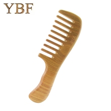 YBF High QUALITY Hair Health Care Massage Whole wood Widen Teeth Green sandalwood Handle Combs Makeup Brushes Professional Brush(China)