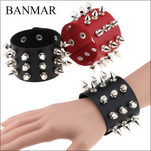 BANMAR Unique Three Row Cuspidal Spikes Rivet Stud Wide Cuff Leather Punk Gothic Rock Unisex Bangle Bracelet men jewelry(China)