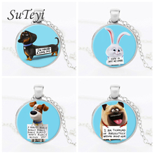 SUTEYI The Secret Life of Pets Glass Necklace The Animal Photo Necklace Bird Jewelry Rabbit Dachshund Dog Greedy cat Necklace
