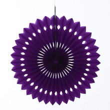 50pcs/lot 10inch=25cm Party Background Purple Foldable Eyelet Tissue Paper Fan Hanging Birthday Party Bridal Showers Decorations