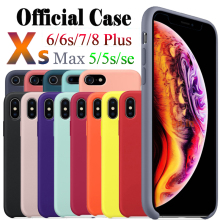 Funda de silicona oficial Original con LOGO para iPhone X XS Max XR funda para iPhone 7 8 funda de teléfono para iPhone 6 6 s Plus 5S SE(China)