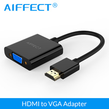 AIFFECT HDMI to VGA adapter digital to analog audio converter Male to Female cable for Xbox 360 PS4 PC Laptop TV Box Projector(China)