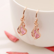 ZOSHI Fashion Gold Color Earrings for Women Long Stud Earing Crystal CZ Zircon Statement Wedding Wholesale Jewelry(China)