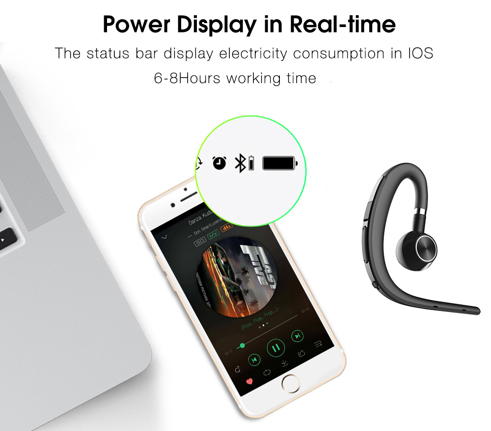 Lymoc Upgrade Y3+ Bluetooth Earphone Handsfree Ear Hook Wireless Headsets V4.1 Noise Cancelling HD Mic Music For iPhone Huawei 11