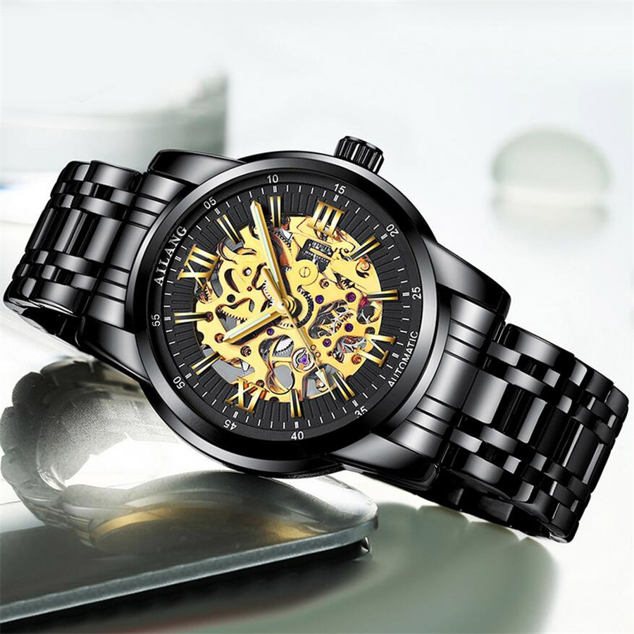 AILANG Skeleton Mens Watches Top Brand Luxury Fashion Automatic Hollow Out Man Mechanical Watches Watches relogio masculino<br>