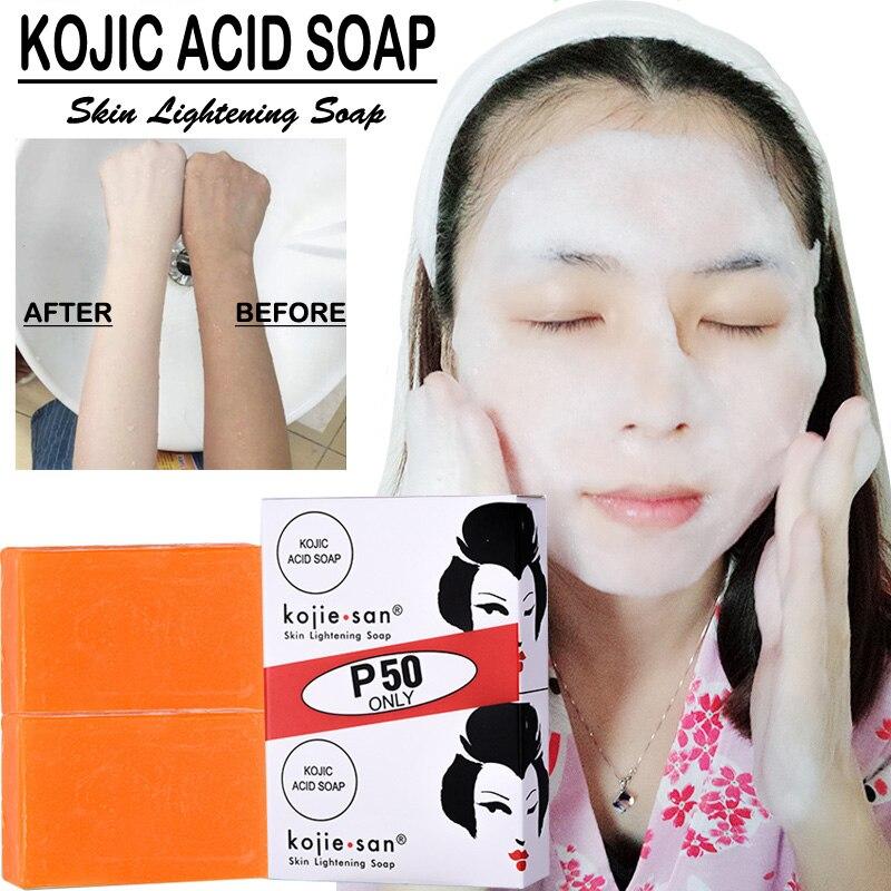 Kojie San Whitening Soap Skin Lightening Soap Bleaching Kojic Acid Glycerin Handmade Soap Deep Clean kojic acid soap 65g*2 1