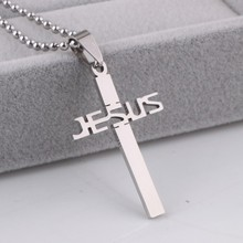 Buy JESUS cross pendant necklaces bead chain men 316L Stainless Steel necklace wholesale jewelry for $1.14 in AliExpress store