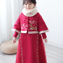 ea9954dfd Chinese Traditional Child Girl Tang Clothing Autumn Winter Warm Coat&Dress  Set Children Kids Hanfu Costume Suit