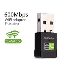 USB WiFi Adapter Network Card USB Lan Ethernet Wi-Fi Receiver 600Mbps Wireless Adapter AC Dual Band 2.4G 5Ghz USB WiFi Antenna(China)