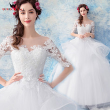 Buy QUEEN BRIDAL Wedding Dresses Ball Gown Half Sleeeve Lace Elegant Long Formal Wedding Gowns Vestido De Noiva Bridal Gowns JW86 for $115.00 in AliExpress store