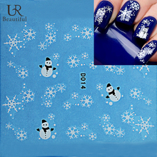 1 Sheet Full Cover Nail Art Sticker Christmas Water Transfer Nail Sticker Snowman New Designs Manicure BED014(China)