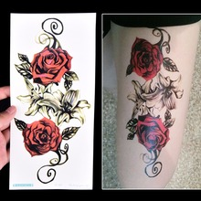 1Pcs Flower Tattoos Sticker Body Art Big Red Rose Flowers Circle Design Temporary Fake Flash Tattoo Sticker 10*20cm