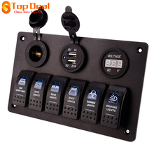 New 6 Gang LED Rocker Switch Panel Circuit Breakers Usb Charger 12V 24V Boat Marine Buttons Black Direct Selling