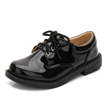 New Kids Genuine Leather Wedding Dress Shoes for Boys Brand Children Black Wedding Shoes Boys Formal Wedge Sneakers(China)