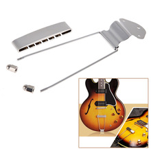 Guitar Accessories Guitar Chrome Tailpiece Trapeze Open Frame Bridge For 6 String Archtop Guitar