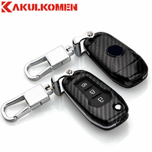 New Carbon fiber craft Folding Car key fob case cover wallet house for Ford Mondeo(1.5T) EVEREST( 2015 2016 2017 ) Escort(China)