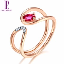 Lohaspie Solid 18K Rose Line Engagement Rings Gold Natural Gemstone Ruby Fine Diamond-Jewelry For Women Online Best Buy Gift(China)