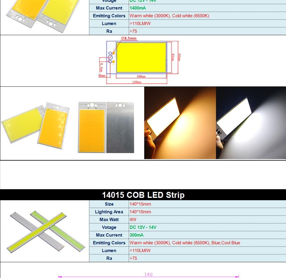 DC12V LED COB Bulb Light Emitting Diodes 2W-200W Round COB Strip White Red Blue Color 12V LED Lamp Chip for Auto Car Bulbs DIY (7)