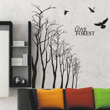 Free mail diy vinyl wall sticker forest birds living room bedroom wall stickers(China)