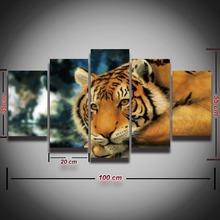 5 Panel Printed Tiger Head Modular Picture Modern Landscape Canvas Painting for Wall Art Living Room Home Decor HD Prints Poster