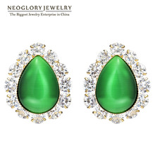 Neoglory Jewelry Light Yellow Gold Color Opal Fashion Green Zircon Round Classic Stud Earrings For Women 2017 New