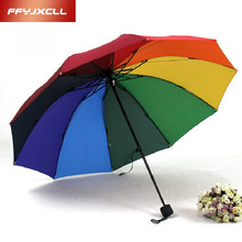 Fashion rainbow men women Fold umbrella water sun umbrella Extreme Popularity Creative Three Folding Adults Children  Umbrella
