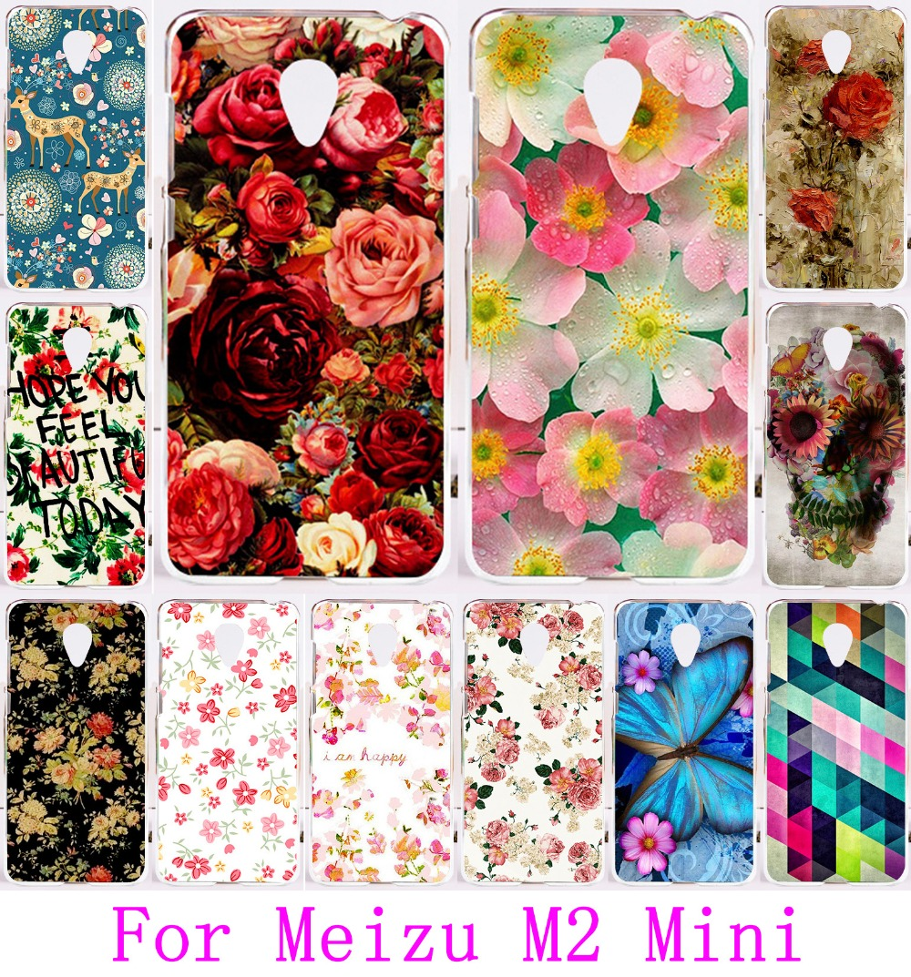 Soft TPU Hard Plastic DIY Printed Mobile Phone Case For Meizu M2 Mini Cover Capa Carcasa Bags Protective Skin Rose Peony Flower(China (Mainland))