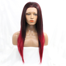 Mixed Red Color High Temperature Straight Lace Front Hair Heat Resistant Wig Hand Tied Synthetic Wigs for Africa American Women(China)