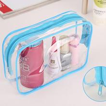 1PC Clear Travel Makeup Cosmetic Bag 3 Colors Women Toiletry BagTransparent Plastic PVC Bags Toiletry Zip Pouch 15*7*10.5cm(China)