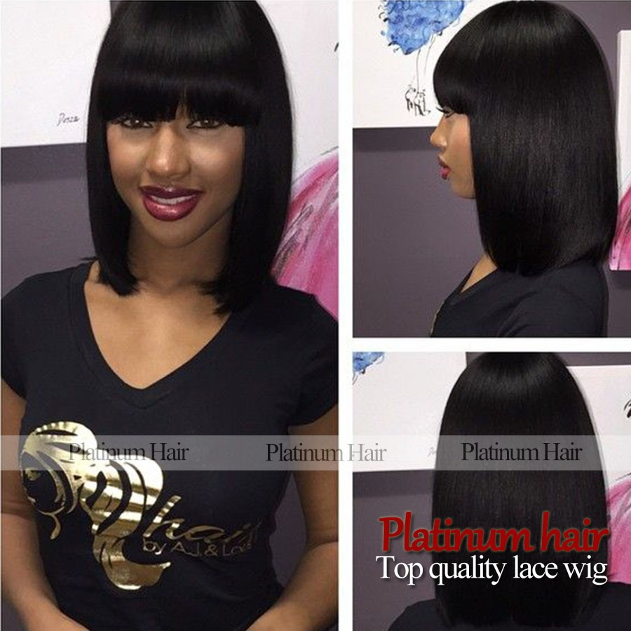 Short Black Color hair Afro Brazilian Wigs Glueless For White/Black Women Synthetic Lace Front wigs with bangs heat resistant<br><br>Aliexpress