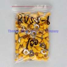 RV5.5-6 Yellow Ring insulated terminal cable Crimp Terminal suit 4-6mm2 Cable Wire Connector  100PCS/Pack RV5-6 RV