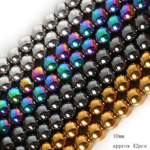NiceBeads Top Quality Black/Gold/Silver/Rainbow Hematite Beads Pick Size 4 6 8 10 MM For DIY Jewelry Bracelet Making