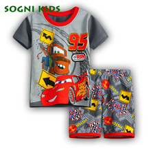 SOGNI KIDS 2017 Summer cotton clothes for boys shorts clothing sets 2pieces sport suit for 3-8Y kids cartoon car Kleding Casual