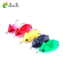 HENGJIA 5pcs baby mouse carp fishing lure isca artificial Soft frog lure pesca plastic Fishing tackle hook 5CM 10G mixed color(China)