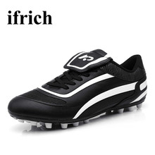 Ifrich Football Boots for Children Black White Soccer Shoes Men Boots Anti-Slip Soccer Shoes Artificial Grass Football Trainers
