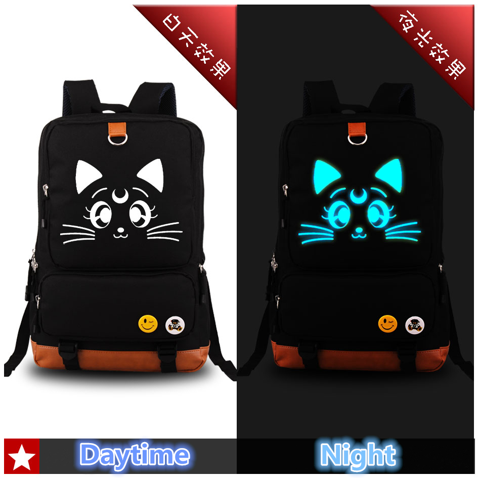 2017 New High Quality Sailor Moon Kawaii Luna Emoji Luminous Printing Canvas Travel Bags School Bags for Teenagers Rucksack<br>